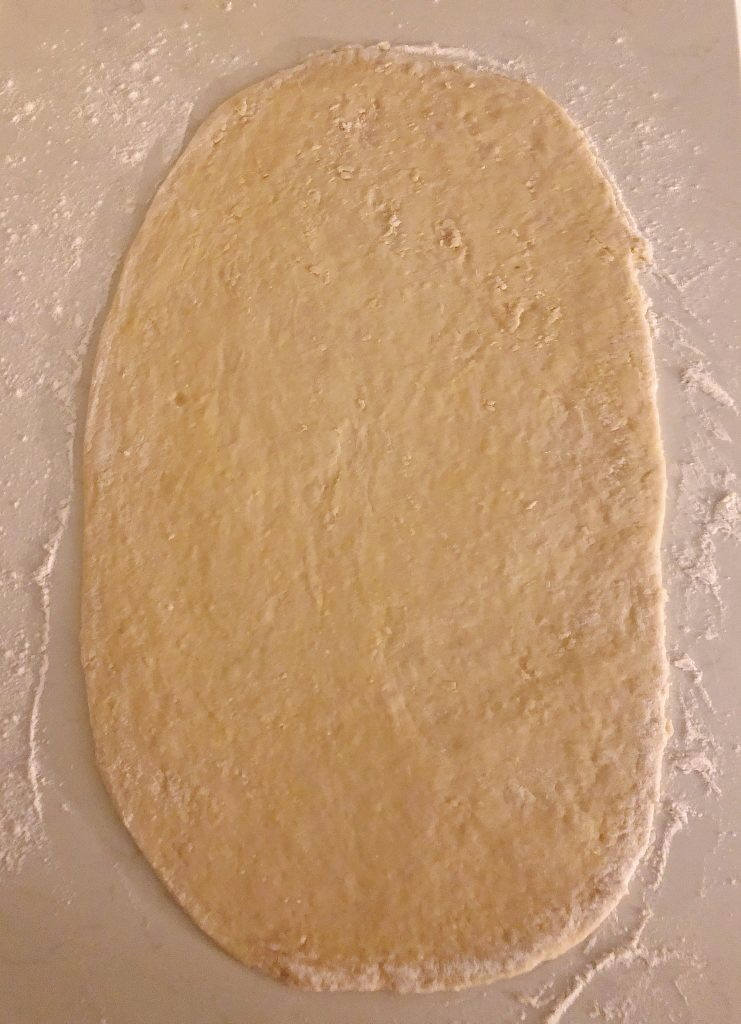 roll your dough out until its about 1/4 inch thick